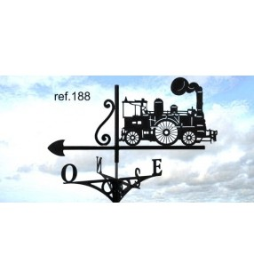 Girouette de toit Train à vapeur, en acier ou en inox