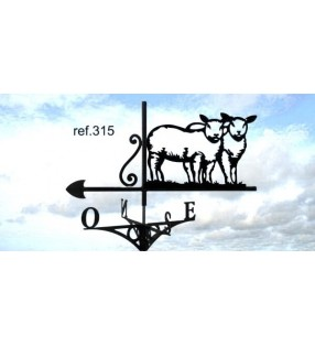 Girouette de toit Moutons, en acier ou en inox