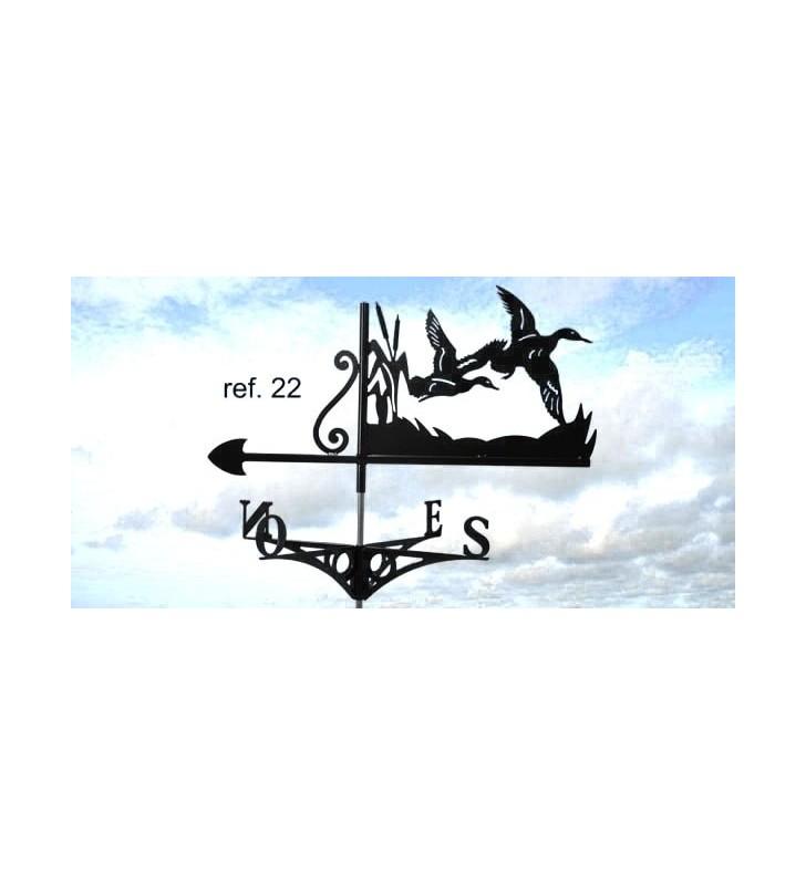Girouette de toit Canards en vol, en acier ou en inox