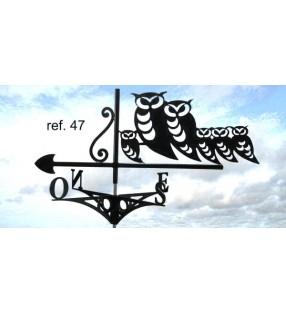 Girouette de toit Hiboux en famille, en acier ou en inox