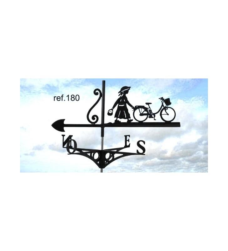 Girouette de toit Fillette à la bicyclette, en acier ou en inox