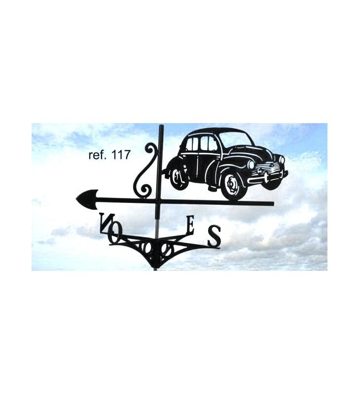 Girouette de toit Renault 4CV, en acier ou en inox