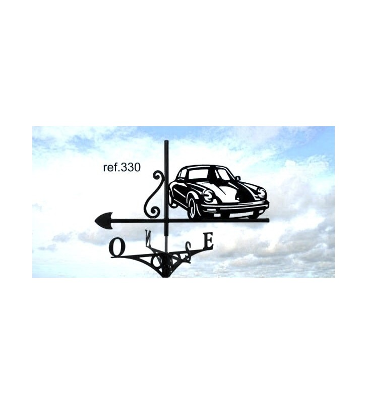 Girouette de toit Porsche 911, en acier ou en inox