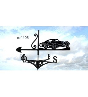 Girouette de toit Chevrolet Corvette, en acier ou en inox