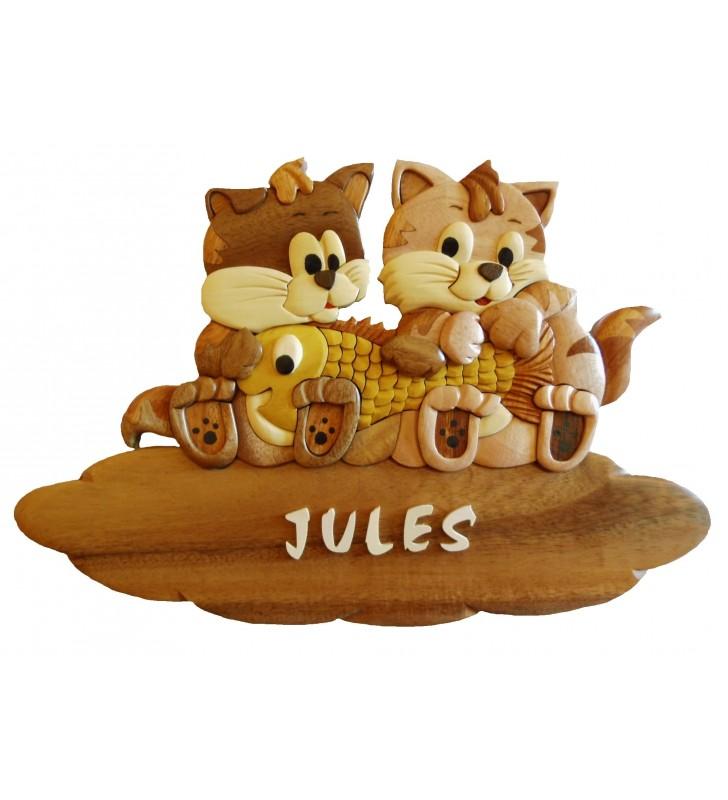 Plaque de porte prénom en bois, Chatons / Poisson