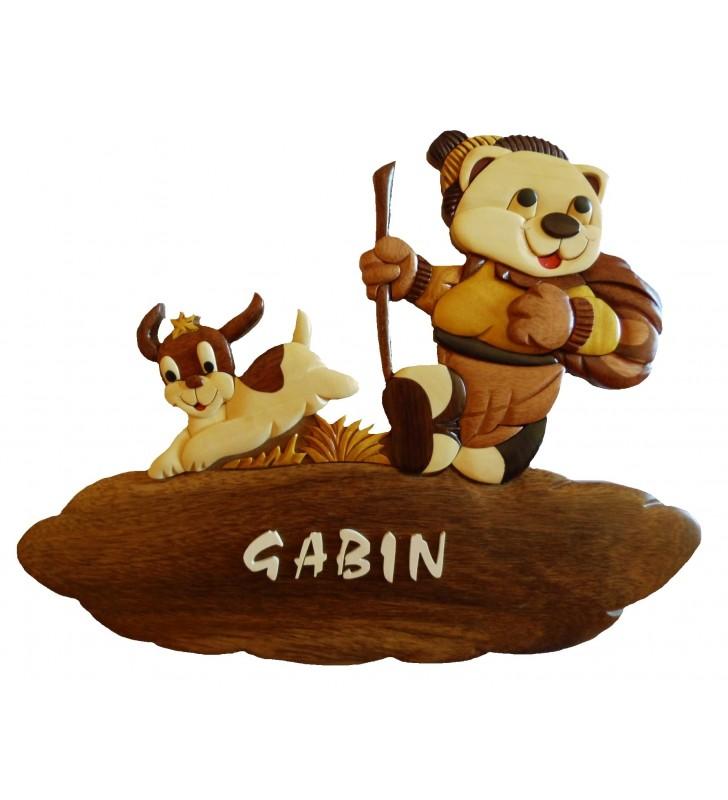 Plaque de porte prénom en bois, Ourson / Chien