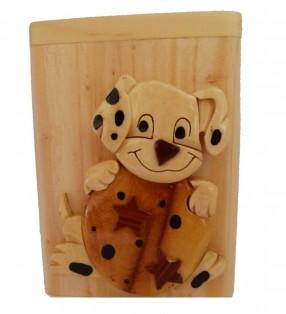 Tirelire en bois avec prénom, Chiot dalmatien