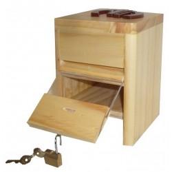 Ouverture de la tirelire en bois avec prénom, Coccinelle