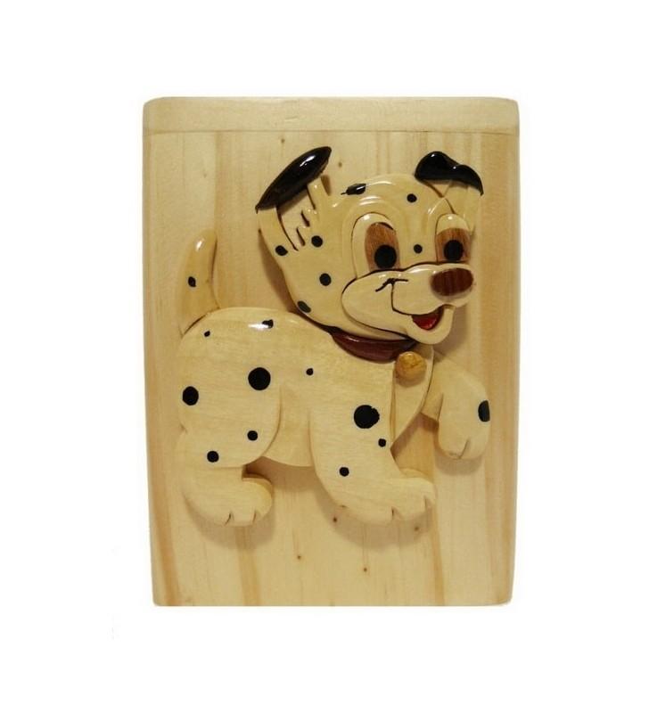 Tirelire animée en bois avec prénom, Chien dalmatien