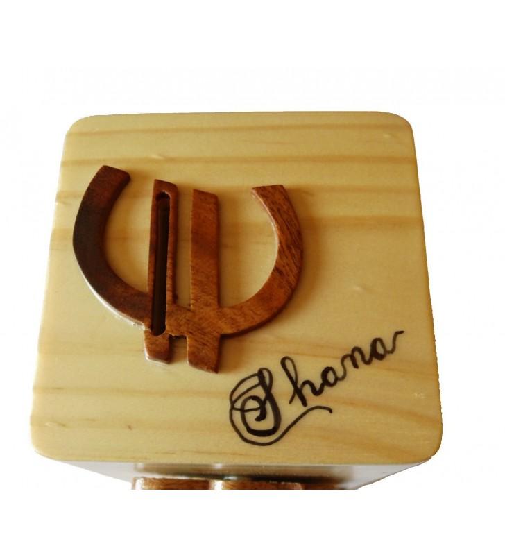 Tirelire animée en bois personnalisée, Coccinelle