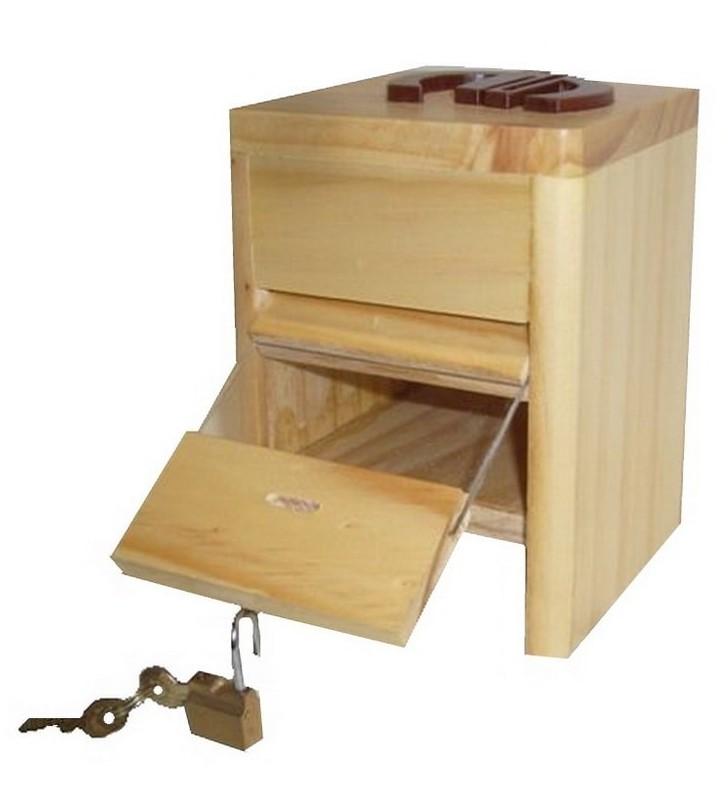 Ouverture de la tirelire animée en bois avec prénom, Coccinelle