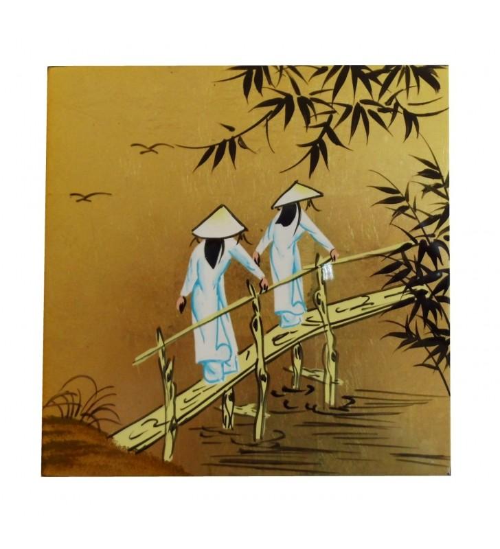 Tableau laqué asiatique - Vietnamiennes sur pont