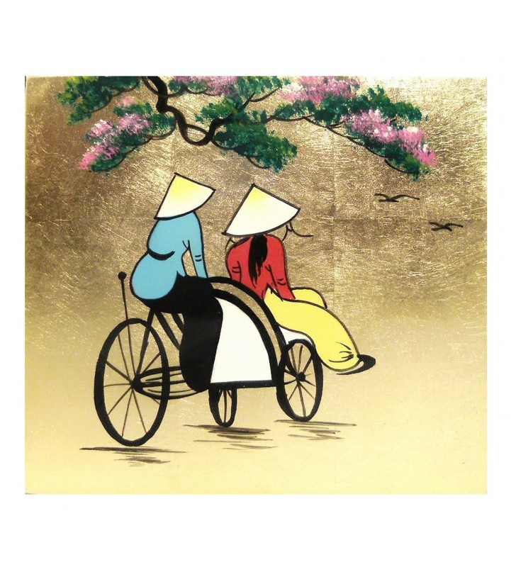 Tableau laqué asiatique - Vietnamiennes à vélo