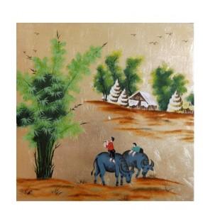 Tableau laqué décor asiatique - Paysage du Vietnam