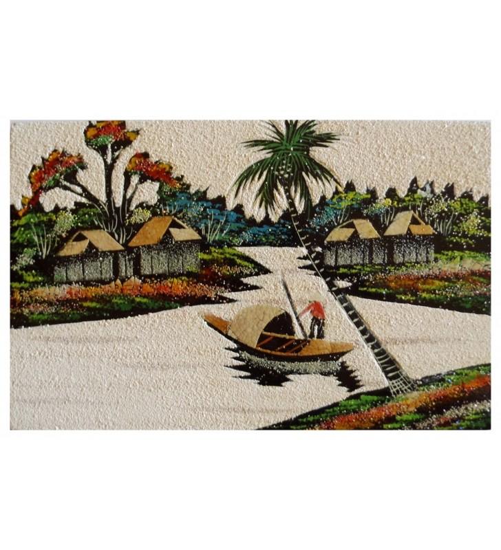 Tableau asiatique sable et coquilles d'œufs - paysage vietnamien