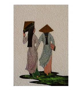 Tableau asiatique sablé - Vietnamiennes en áo dài mauve et bleue