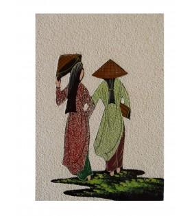 Tableau asiatique sablé - Vietnamiennes en áo dài rouge et verte
