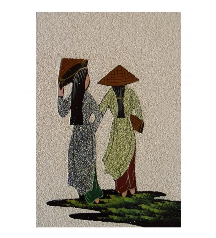 Tableau asiatique sablé - Vietnamiennes en áo dài bleue et verte