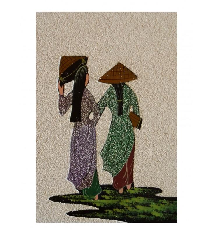 Tableau asiatique sablé - Vietnamiennes en áo dài violette et verte