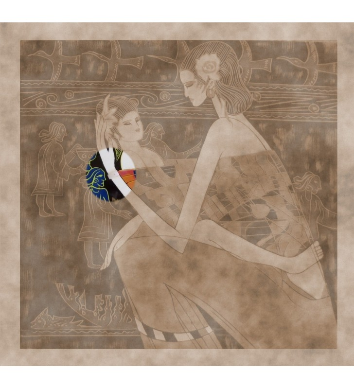 Tableau laqué et nacré - Femme et son enfant