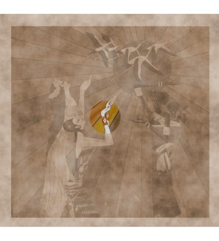Tableau laqué et nacré - Femmes aux cigognes