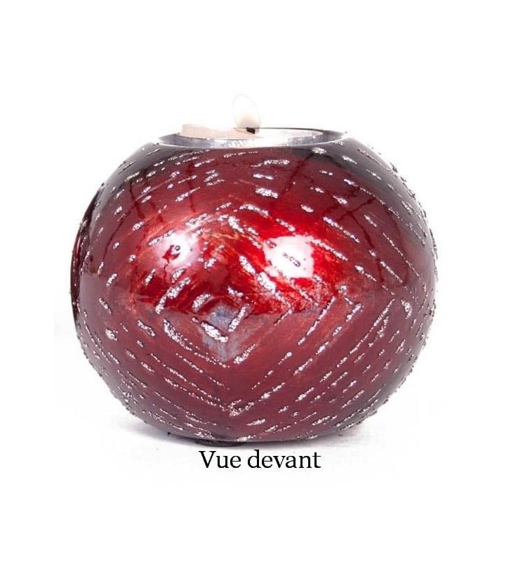 Bougeoir boule Acapulco original en céramique, Rouge pailleté argent