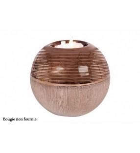Bougeoir boule Equinoxe original en céramique, Cuivre