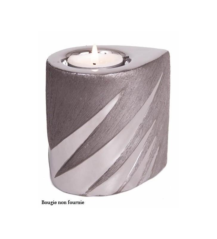 Bougeoir Equinoxe original en céramique, Stries argent