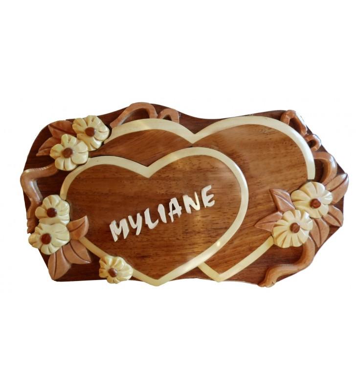 Boîte puzzle secrète à bijoux en bois intarsia, Coeurs, avec prénom