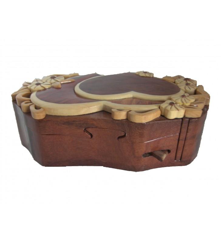 Loquet de déverrouillage de la boîte puzzle secrète à bijoux en bois intarsia, Coeurs
