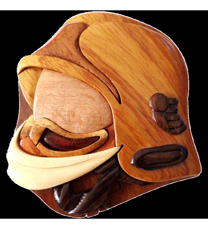 Boîte puzzle secrète à bijoux en bois intarsia, Casque de Pompier F1
