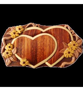 Boîte puzzle secrète à bijoux en bois intarsia, Coeurs