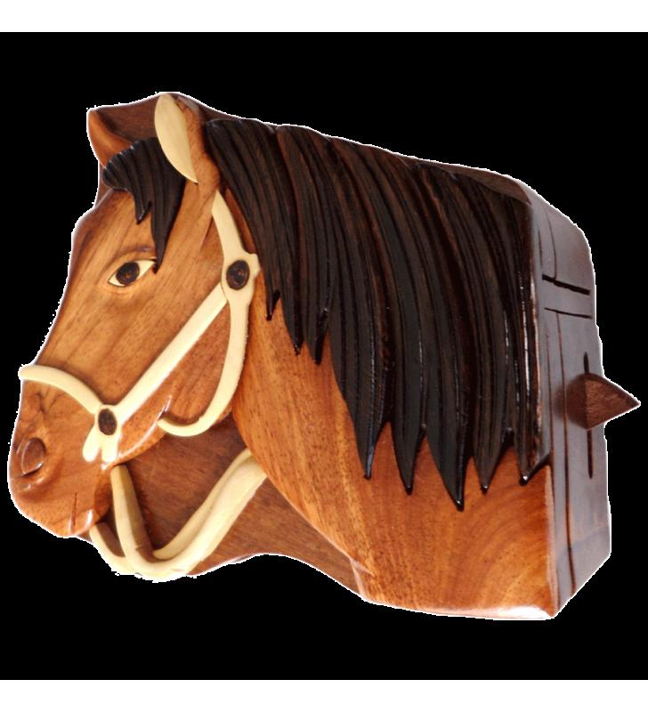 Ouverture mystérieuse de la boîte puzzle secrète à bijoux en bois intarsia, Cheval