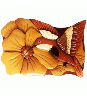 Boîte puzzle secrète à bijoux en bois intarsia, Colibri