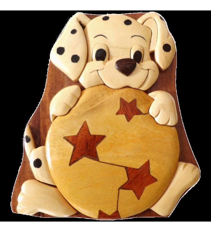 Boîte puzzle secrète à bijoux en bois intarsia, Chien dalmatien