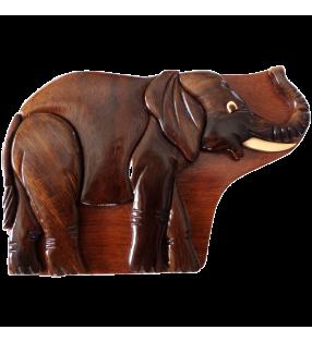 Boîte puzzle secrète à bijoux en bois intarsia, Eléphant