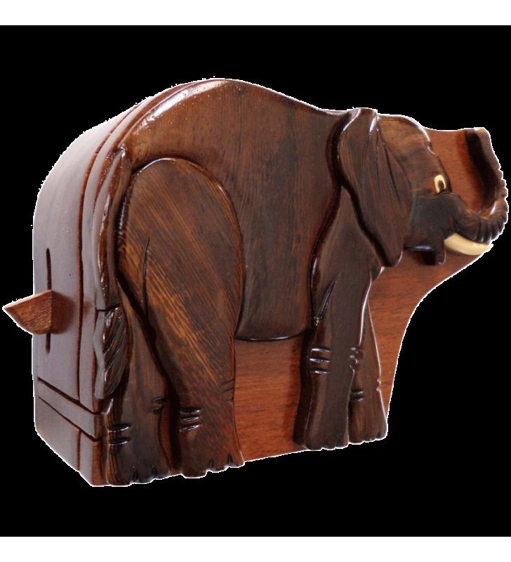 Ouverture mystérieuse de la boîte puzzle secrète à bijoux en bois intarsia, Eléphant