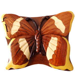 Boîte puzzle secrète à bijoux en bois intarsia, Papillon