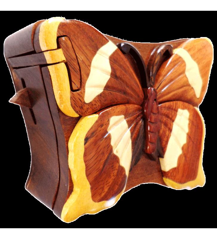 Ouverture mystérieuse de la boîte puzzle secrète à bijoux en bois intarsia, Papillon