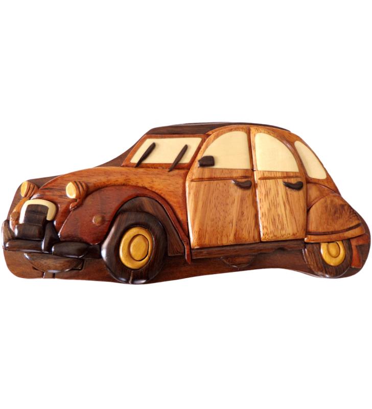 Boîte puzzle secrète à bijoux en bois intarsia, Citroën 2 CV