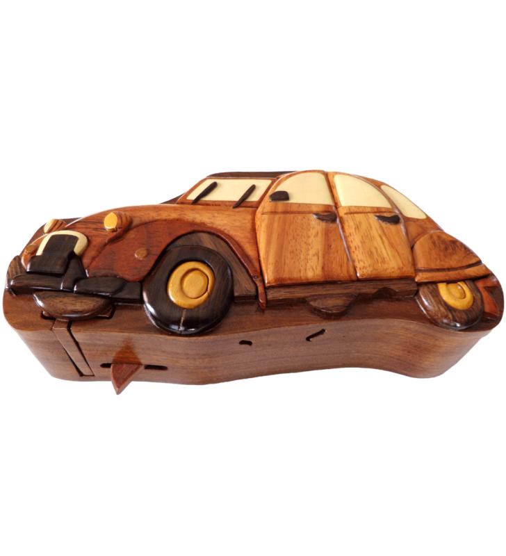 Ouverture mystérieuse de la boîte puzzle secrète à bijoux en bois intarsia, Citroën 2 CV