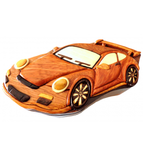 Boîte puzzle secrète à bijoux en bois intarsia, Porsche