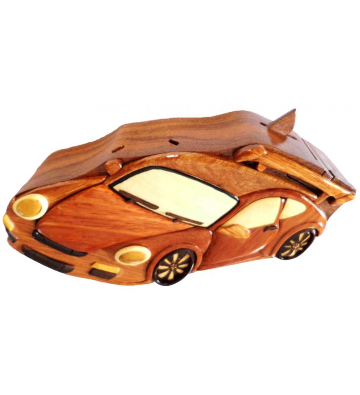 Ouverture mystérieuse de la boîte puzzle secrète à bijoux en bois intarsia, Porsche