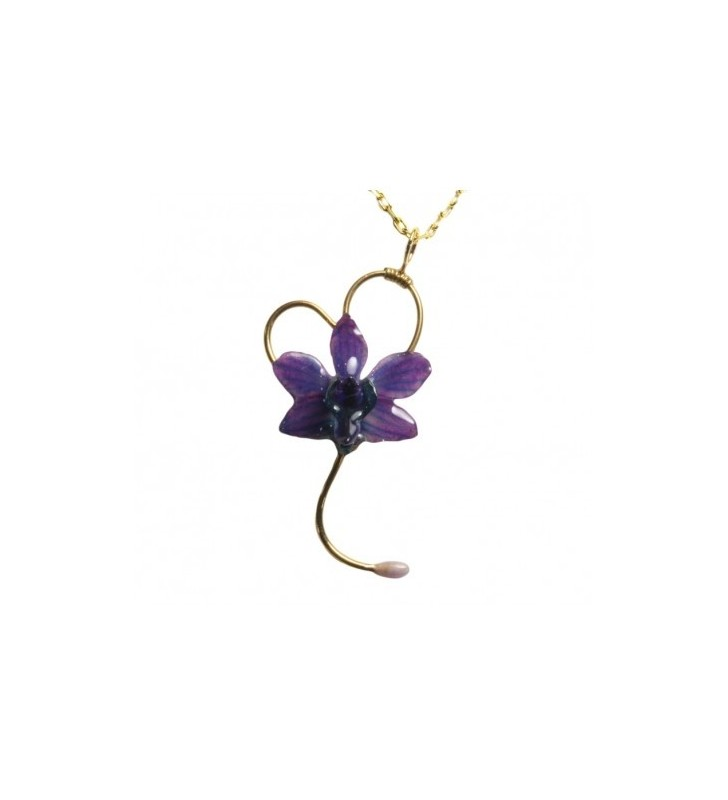 Bijou original orchidée ton bleu, chaîne dorée, forme coeur