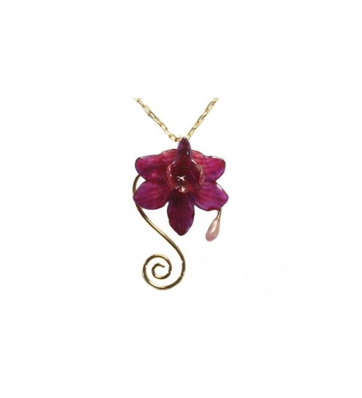Bijou original orchidée ton rose, chaîne dorée, forme spirale