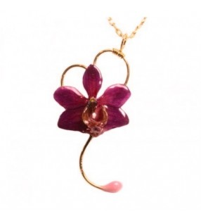 Bijou original orchidée ton rose, chaîne dorée, forme coeur
