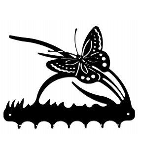 Accroche-clés, décor en métal, Papillon