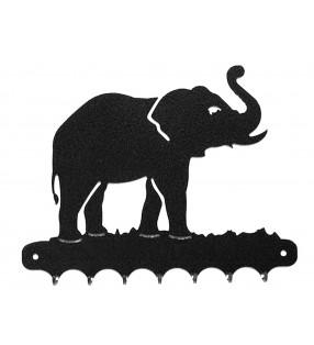 Accroche-clés, décor en métal, Éléphant trompe en l'air