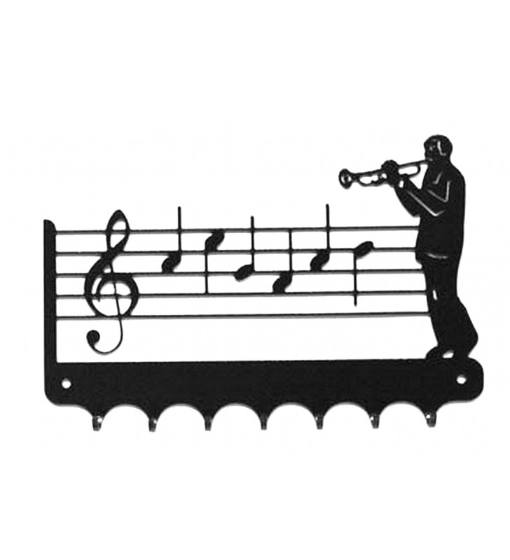 Accroche-clés, décor en métal, Trompettiste