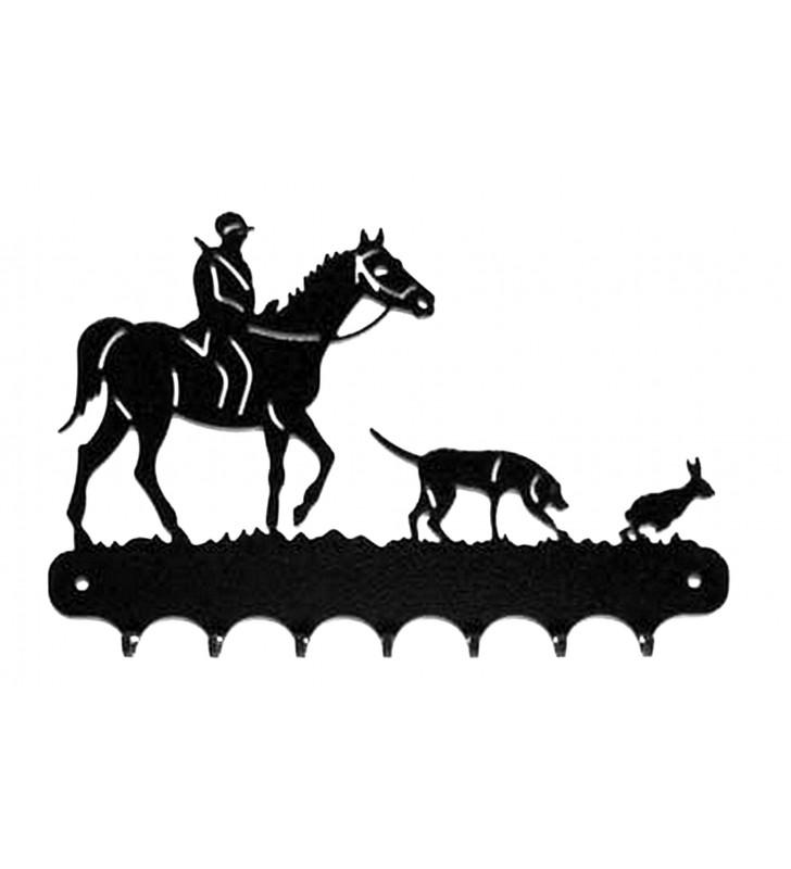 Accroche-clés, décor en métal, Chasse à courre au lièvre
